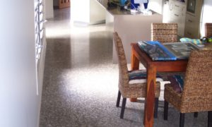 Durable, high quality polished concrete with full aggregate revealed for this new home Tewantin, Sunshine Coast - 400 grit lower gloss sheen polish level